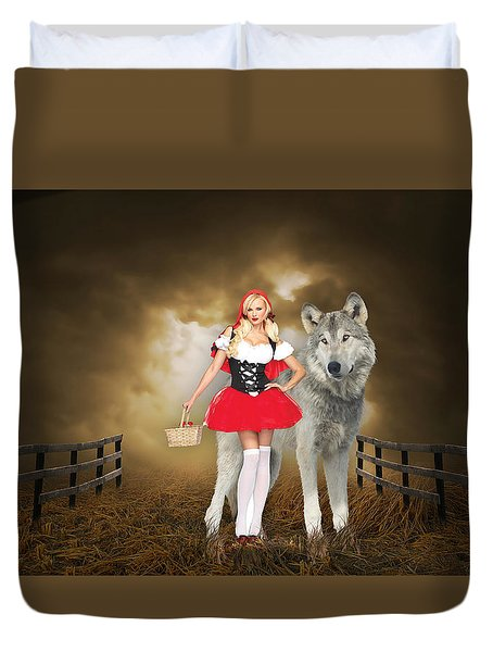 Duvet Cover featuring the mixed media Little Red Riding Hood And The Big Bad Wolf by Marvin Blaine