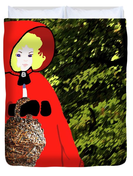 Little Red Riding Hood In The Forest Duvet Cover by Marian Cates