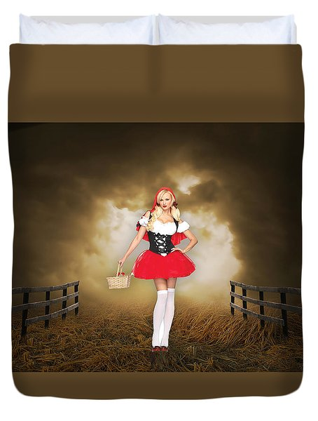 Duvet Cover featuring the mixed media Little Red Riding Hood by Marvin Blaine
