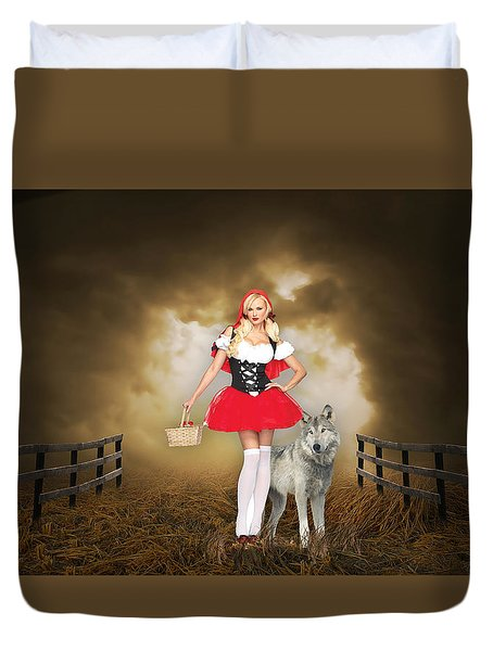 Duvet Cover featuring the mixed media Little Red Riging Hood And The Big Bad Wolf by Marvin Blaine
