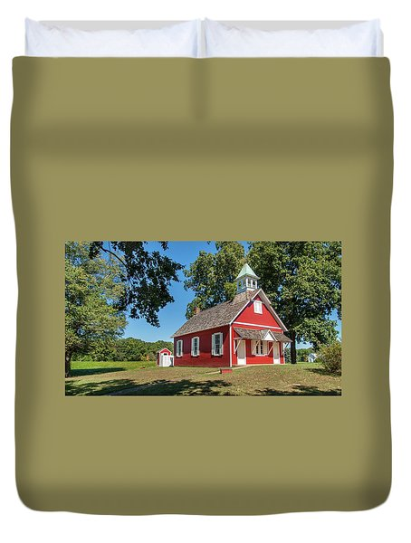 Duvet Cover featuring the photograph Little Red School House by Charles Kraus