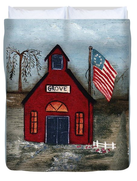 Little Red Schoolhouse Duvet Cover