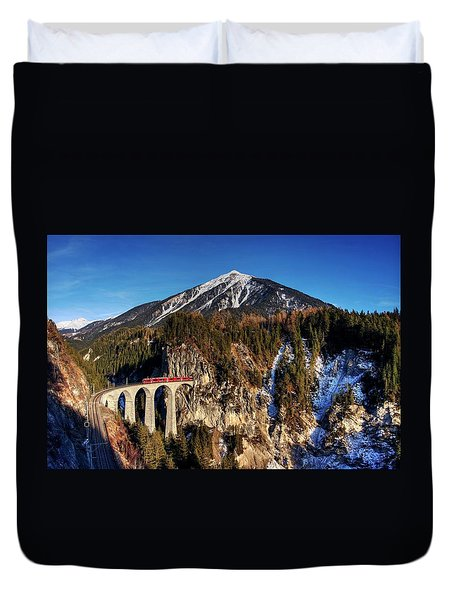 Duvet Cover featuring the photograph Little Red Train In The Swiss Alps by Peter Thoeny