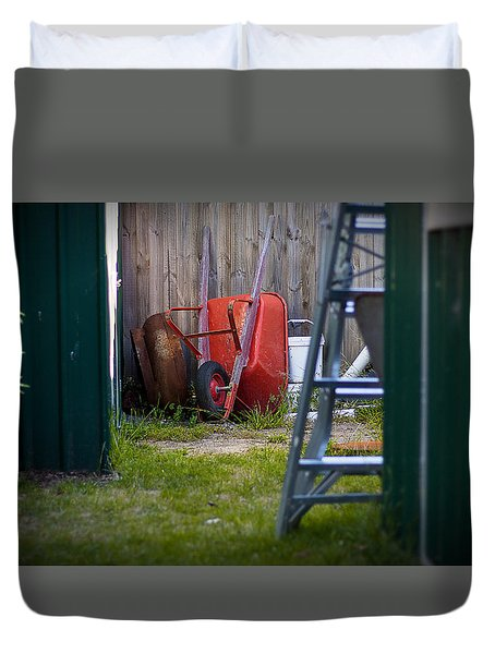 Little Red Wagon Duvet Cover by Tim Nichols