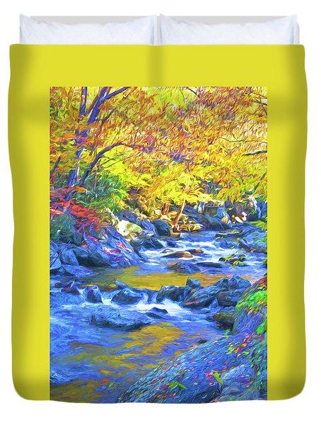 Little River In Autumn Duvet Cover