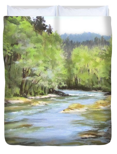 Little River Morning Duvet Cover by Karen Ilari