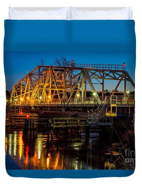Little River Swing Bridge Duvet Cover by David Smith