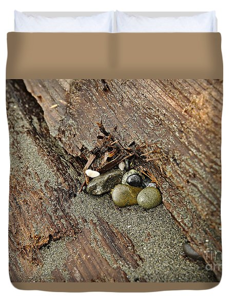 Duvet Cover featuring the photograph Little Rocks by Cendrine Marrouat