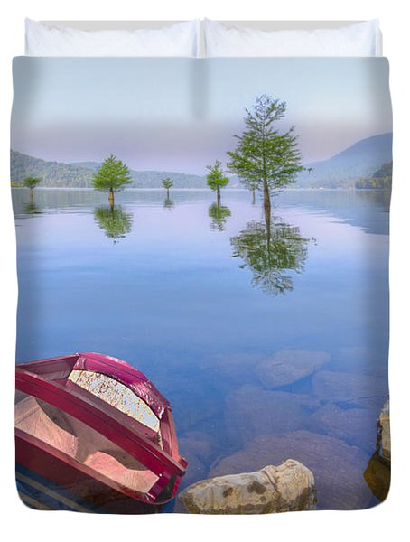 Little Rowboat Duvet Cover by Debra and Dave Vanderlaan