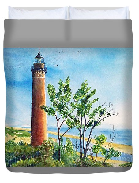 Little Sable Point Lighthouse Duvet Cover by LeAnne Sowa