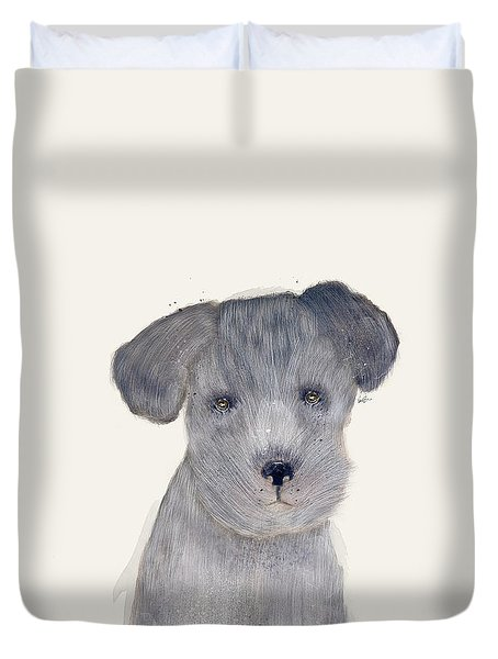 Duvet Cover featuring the painting Little Schnauzer by Bri B