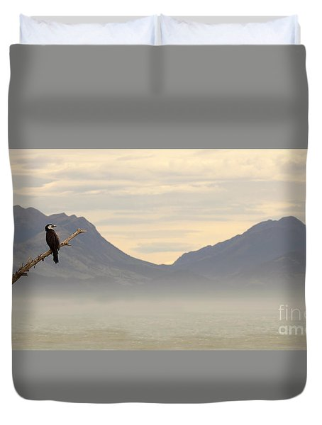 Duvet Cover featuring the photograph Little Shag Above Mountains And Ocean by Max Allen