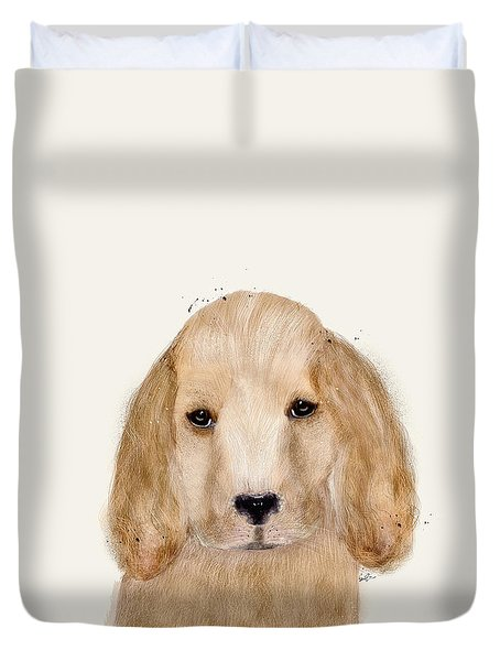 Duvet Cover featuring the painting Little Spaniel by Bri B