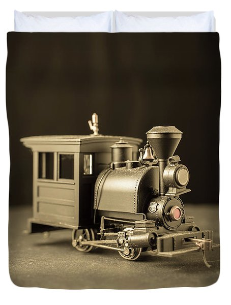 Duvet Cover featuring the photograph Little Steam Locomotive by Edward Fielding
