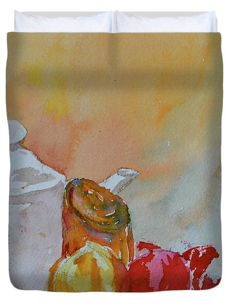 Duvet Cover featuring the painting Little Still Life by Beverley Harper Tinsley