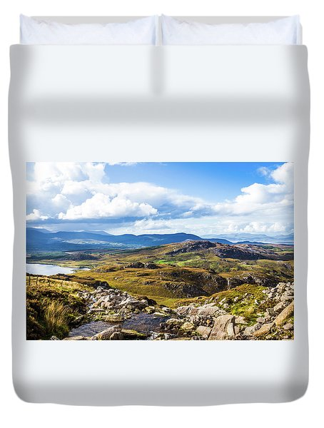Duvet Cover featuring the photograph Little Stream Running Down The Macgillycuddy's Reeks by Semmick Photo