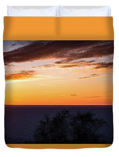Duvet Cover featuring the photograph Little Traverse Bay Sunset by Onyonet  Photo Studios