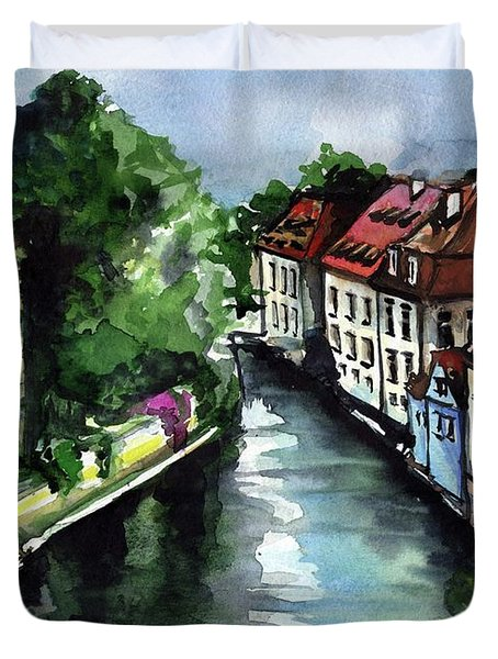 Duvet Cover featuring the painting Little Venice In Prague Certovka Canal by Dora Hathazi Mendes