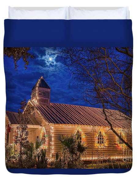 Duvet Cover featuring the photograph Little Village Church With Star From Heaven Above The Steeple by Bonnie Barry