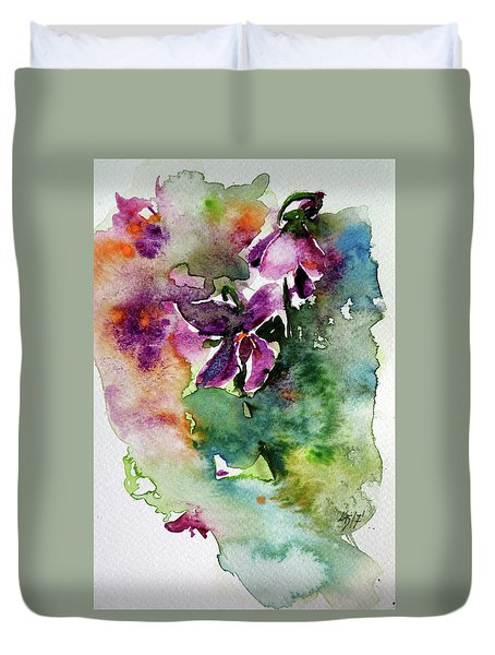 Duvet Cover featuring the painting Little Violet by Kovacs Anna Brigitta