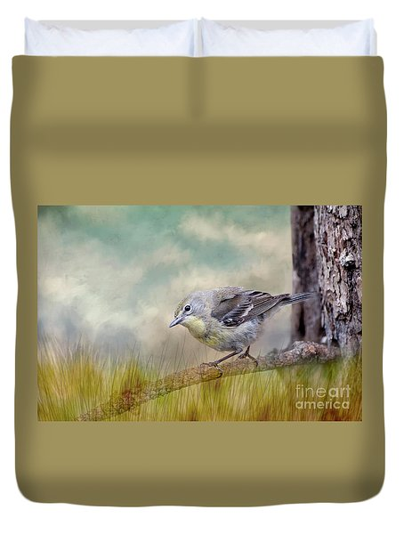 Duvet Cover featuring the photograph Little Warbler In Louisiana Winter by Bonnie Barry