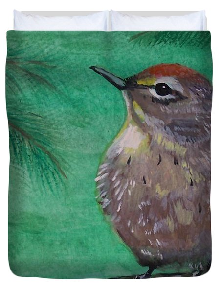 Duvet Cover featuring the painting Little Warbler by Leslie Allen