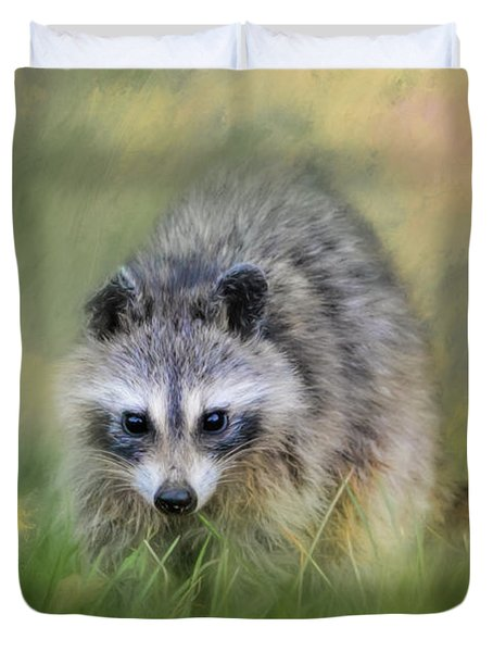Little Wash Bear Raccoon Art Duvet Cover by Jai Johnson