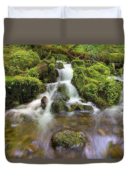 Little Waterfalls Along Wahkeena Creek Duvet Cover