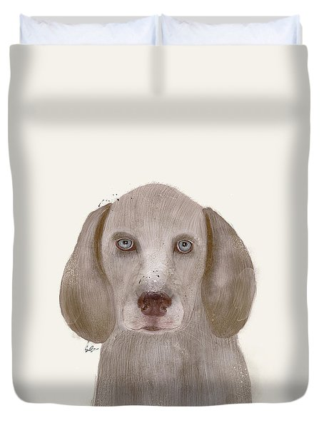 Duvet Cover featuring the painting little Weimaraner by Bri B