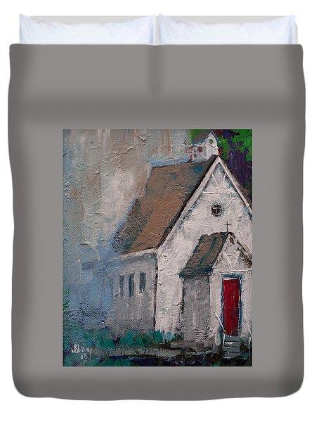 Little White Church On The Corner Christian Painting  Duvet Cover