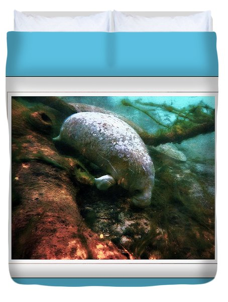 Little White Manatee Duvet Cover