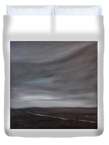 Little Woman In Large Landscape Duvet Cover by Tone Aanderaa