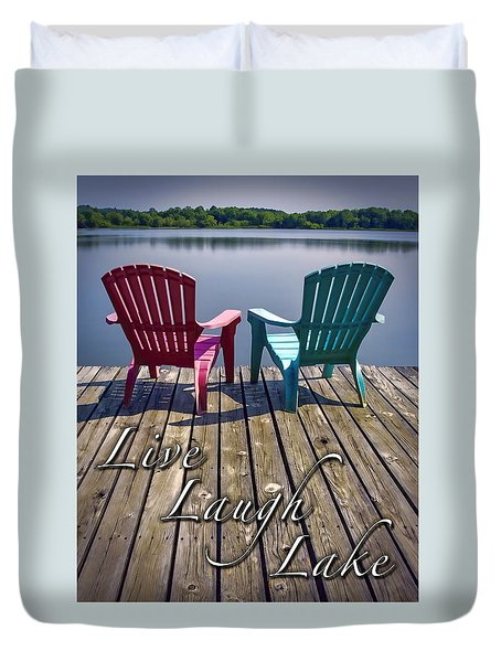 Live Laugh Lake Duvet Cover