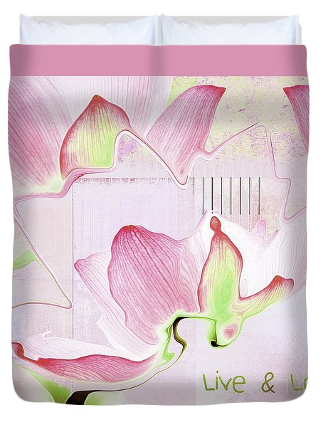 Duvet Cover featuring the digital art Live N Love - Absf17 by Variance Collections