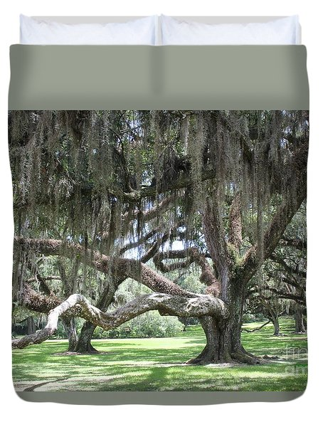 Duvet Cover featuring the photograph Live Oak Grove by Dodie Ulery