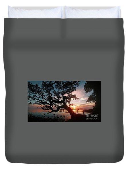 Duvet Cover featuring the photograph Live Oak Sunrise by Benanne Stiens