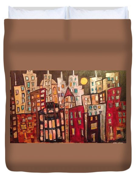 Lively City Skyline Duvet Cover by Roxy Rich