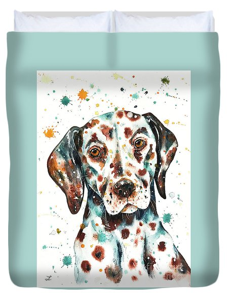 Duvet Cover featuring the painting Liver-spotted Dalmatian by Zaira Dzhaubaeva