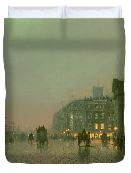 Liverpool Docks From Wapping Duvet Cover by John Atkinson Grimshaw