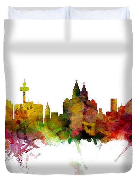 Liverpool England Skyline Panoramic Duvet Cover