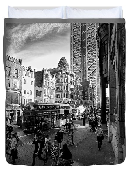 Duvet Cover featuring the photograph Liverpool Street  by Gary Bridger