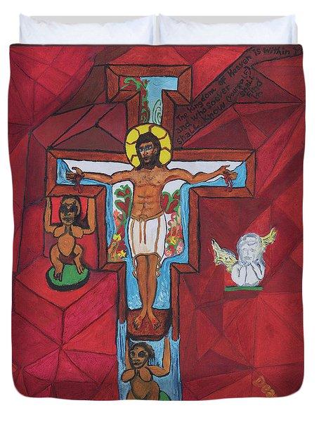 Living Christ Ascending Duvet Cover