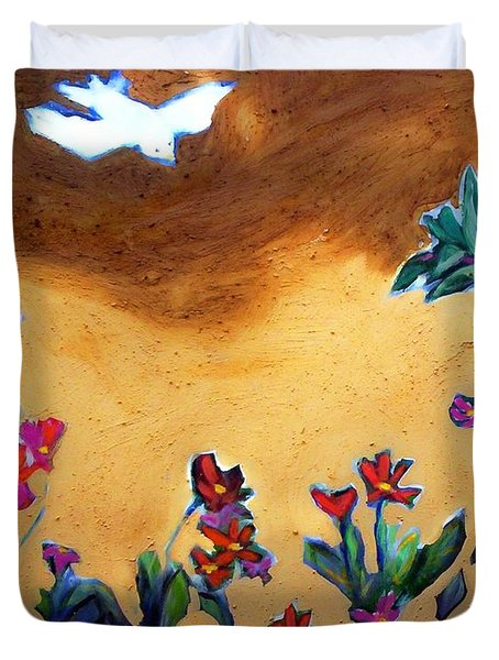 Duvet Cover featuring the painting Living Earth by Winsome Gunning