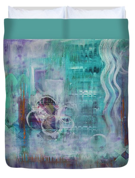 Duvet Cover featuring the painting Living In The Mystery by Jocelyn Friis