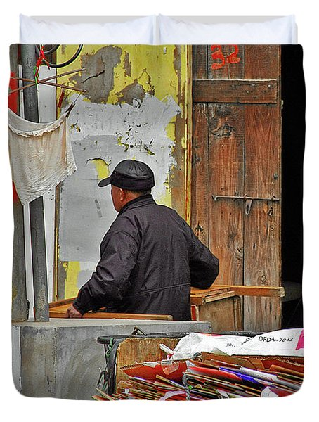 Living The Old Shanghai Life Duvet Cover by Christine Till