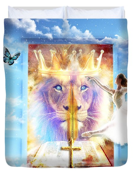 Duvet Cover featuring the digital art Living Word Of God by Dolores Develde