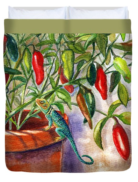 Duvet Cover featuring the painting Lizard In Hot Sauce by Marilyn Smith
