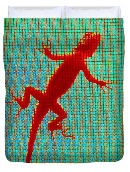 Lizard On The Screen Duvet Cover