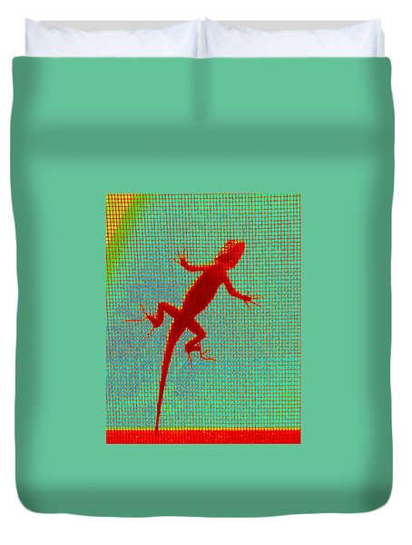 Lizard On The Screen Duvet Cover