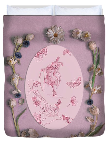 Duvet Cover featuring the mixed media Lizette Of Whispering Daydreams With White Tulips by Nancy Lee Moran